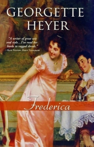 A more current cover from a recent re-release. This one captures the happy tone of the novel wonderfully well, though the featured female does not really fit my mental picture of Frederica herself.