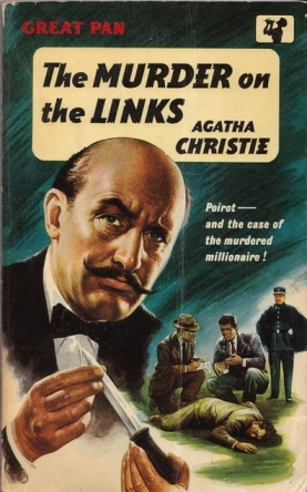 Jumping ahead several decades, this paperback cover at least does not include a golf ball. Our brilliant detective features prominently, little grey cells working furiously, one would assume from his serious expression.