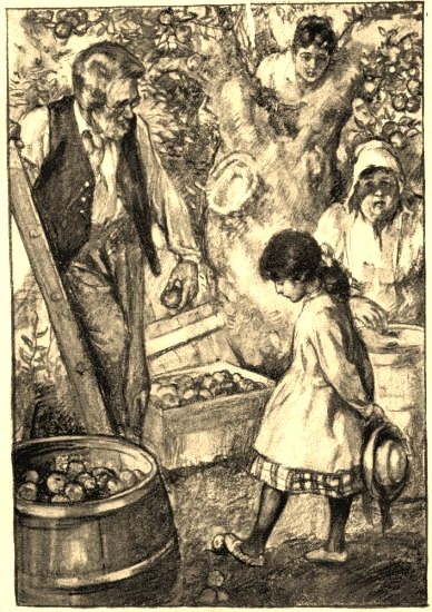 The Putney clan - Uncle Henry, Aunt Abigail and Cousin Ann - with Betsy, illustration by Ada C. Williamson, from the Gutenberg transcription.
