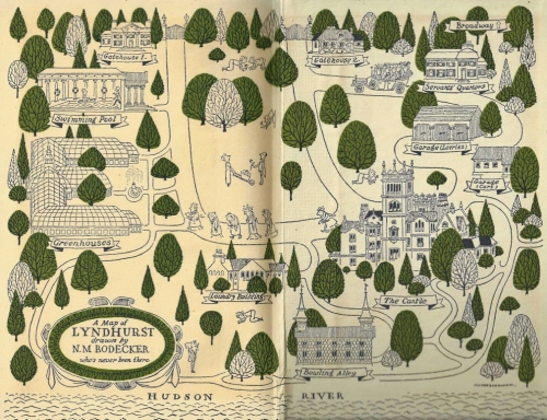 "Gorgeous endpaper illustrations show a map of Helen Gould Shepard's favourite ""home"", the family country estate of Lyndhurst. Small illustrations depict incidents described in the memoir: the nighttime procession of the entire household to see the fabulous night-blooming cereus in the conservatory; grubbing up dandelions in the lawn under Mother Shepard's watchful eye; going to church en masse packed into one of the nine Shepard motorcars; swimming in the Greek-columned pool, watched over by a full-time lifeguard, whose main claim to usefulness was that he had once rescued one of the many Chinkys from a watery death!"