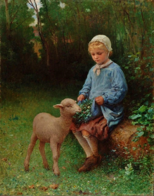 """The Pet Lamb"" - William Henry Lippincott (1849-1920)"