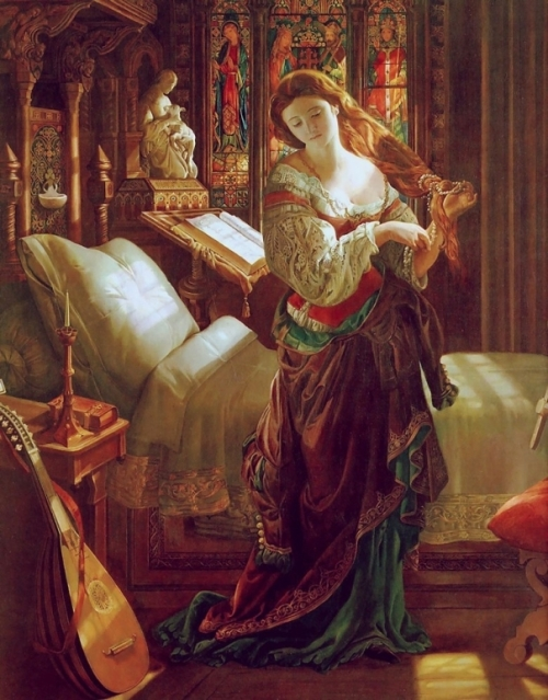 Madeline After Prayer (Eve of St Agnes) - Daniel Maclise, 1868