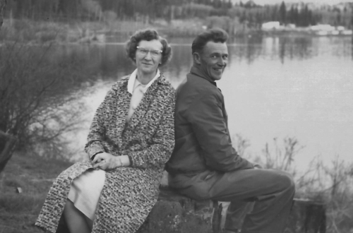 Mom and Dad, 1962. At home in the Cariboo.