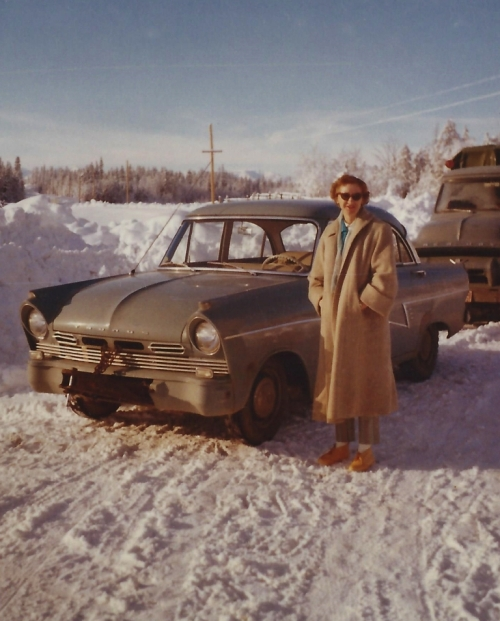 Mom in 1962, moving to the Cariboo region of British Columbia from central California. She drove up in her beloved Taunus car, Dad's truck is loaded with her furniture and household treasures, and, yes, many boxes of books. I love this picture, especially the totally unsuitable footwear. Mom never did really resign herself to wearing proper winter boots; I swear her feet were cold for the next 50 years!