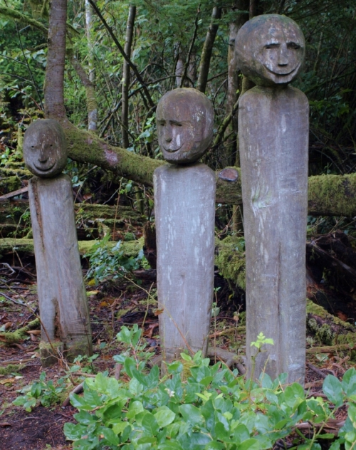 Mildly eerie but decidedly cheery: dwellers in the rainforest at Tofino Botanical Garden.