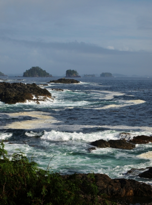 Sea isles off Ucluelet, seen from a viewpoint on the Wild Pacific Walking Trail.