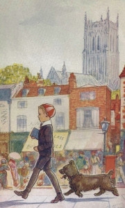 Jeremy and his canine familiar, Hamlet, portrayed by E.H. Shepard in the 1919 edition of Jeremy.