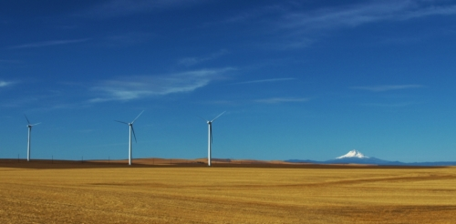 Into Oregon. Wind farms, wheat fields, and Mount Hood.