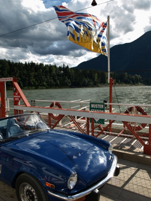 Crossing the Skeena River by 2-car reaction ferry, Usk, B.C.