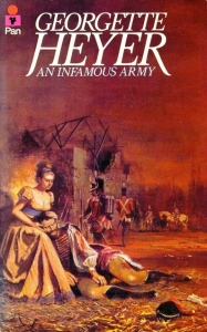 "And one of Heyer's least favourite - and unapproved - Pan paperback covers. ""Whatever is that scantily clad woman doing on a battlefield? Did the illustrator not even read the book?!"""
